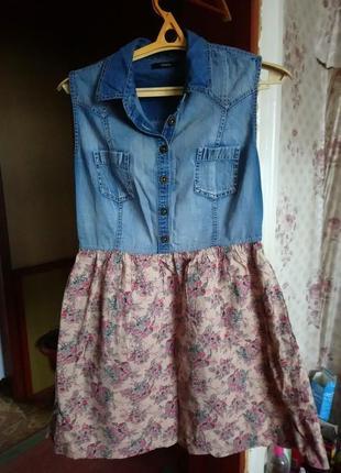 Платье ,джинс +коттон