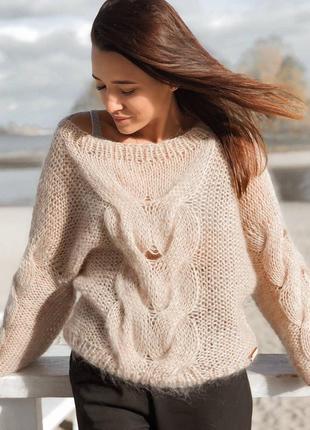 В наличии шикарный свитер оверсайз в бежевом цвете♥