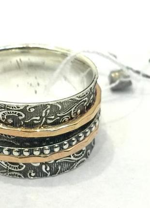 Новое красивое серебряное кольцо с позолотой и чернением 19,0 серебро 925 пробы