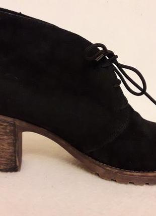Натуральные замшевые ботинки фирмы rieker (германия) p. 39 стелька 25,5 см