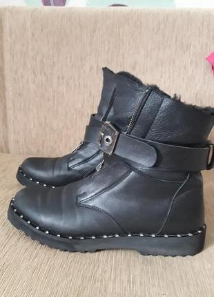 Зимние ботинки натуральная кожа и мех
