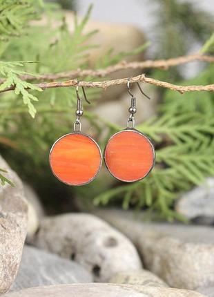 Серьги тиффани красно-оранжевые