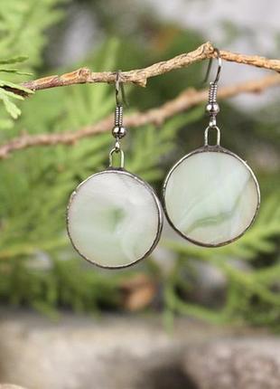 Серьги круглые серо-зеленые