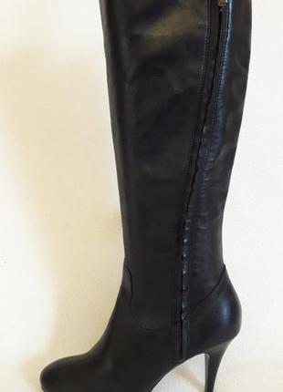Шикарные кожаные высокие сапоги фирмы geox p. 37 стелька 24 см