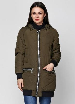 Скидка куртка демисезонная стеганная на манжете 42-50р бежевая, голубая, хаки, горчичная