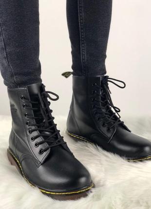 Крутые ботинки в коже и с мехом внутри (36,38,39)