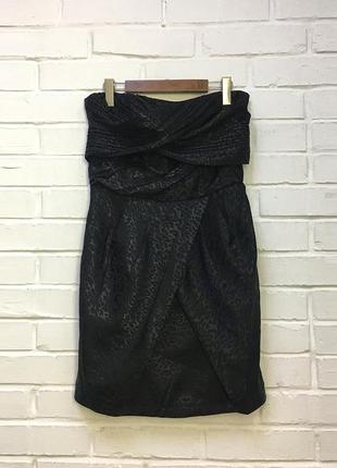 Вечернее нарядное черное платье бандо