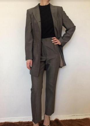 Тренд 2019 шерстяной серый брючный костюм жакет брюки 70% шерсть