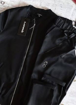 Стильный спортивный атласный костюм черный нарядный бомбер брюки