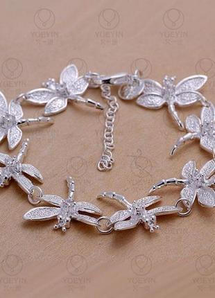 Браслет стрекозы стерлинговое серебро