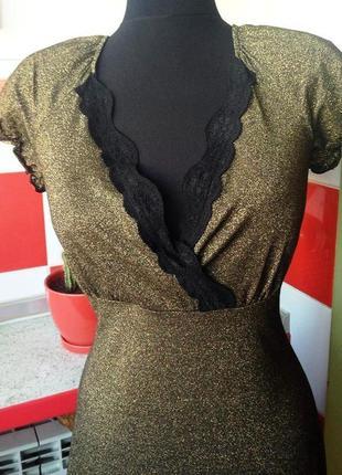 """Потрясающее коктейльное платье """"gizia"""" с люрексом и кружевом- новое - м"""