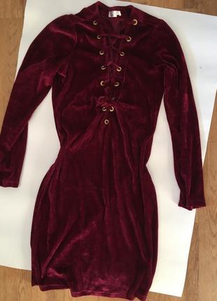 Новое велюровое платье,размер s-m