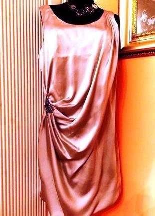 """Нарядное платье-баллон """"bgn"""" светлого стального цвета из атласа - м/l"""