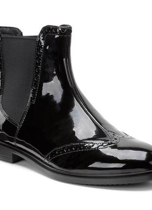 Кожаные лакированные ботинки, ботинки челси, демисезонные ботинки ecco (есть нюансы)