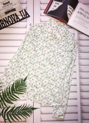 Стильная приталенная рубашка из хлопка в цветочек