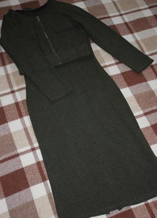 Костюм, платье макси с американской проймой и жакет, стиль милитари размер м