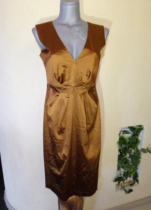 Золотое платье миди 44-46 размер