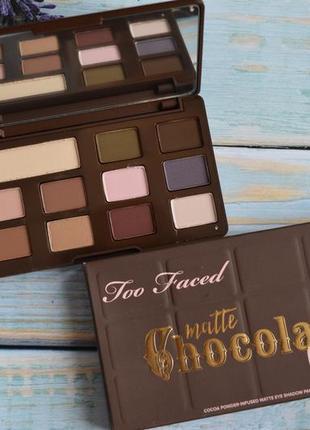 Палетка теней too faced matte chokolate
