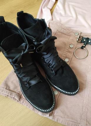 Черные ботинки под замш от primark