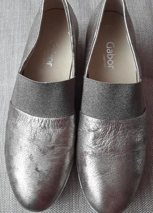 Золотые кожаные  лоферы туфли  gabor 40 размер