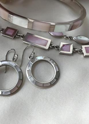 Tuscany silver сет: 3серебряных браслета и серьги с розовым перламутром