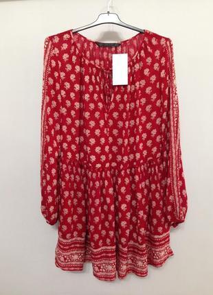 Легкое вискозное красное свободное платье с заниженной талией с узорами zara