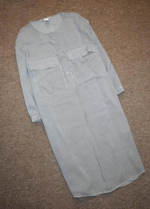Длинная рубашка в мелкую полоску