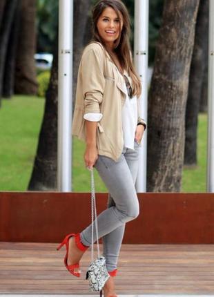 Классные плотные джинсы с латками  и высокой посадкой skinny  jack & jones