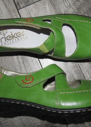 Суперкомфортные кожаные открытые туфли балетки rieker р.38 стелька 25 см