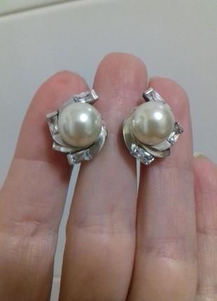 Серебряные серьги с жемчужиной 10мм