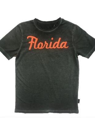 Новая серая футболка с надписью florida, tom tailor, 1034105