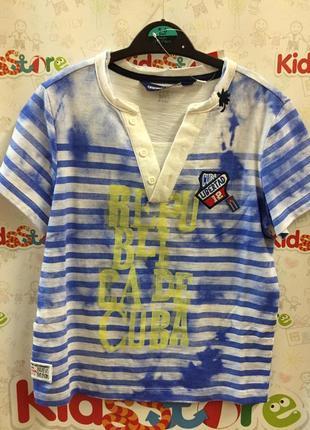 Новая футболка синяя в полоску для мальчика, original marines, 2366