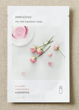Тканевая маска my real squeeze mask - rose 20ml innisfree