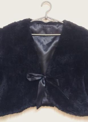 Черное меховое болеро с рукавами до локтей полушубок жакет