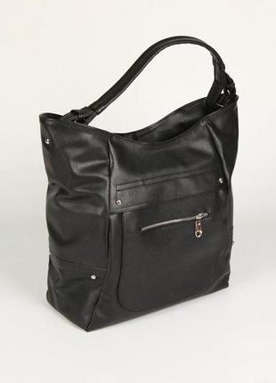 Женская сумка-мешок из кожзама черная м77-801