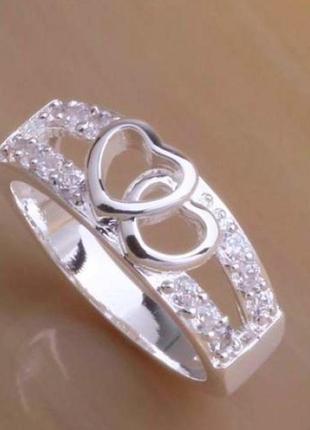 Шикарное кольцо в серебре 925 с фианитами сердце, 17 р.,новое! арт.3421