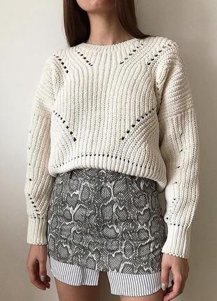 Объемный свитер со спущенным рукавом new look