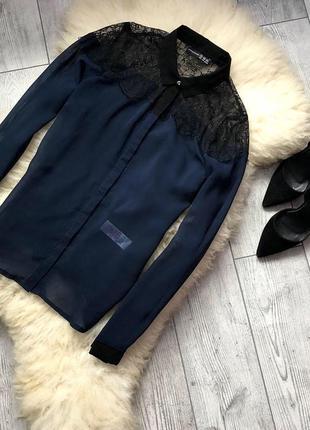 🔥шифоновая блуза темно-синего цвета с кружевным верхом🔥
