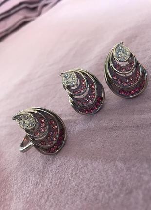 Набор серьги и кольцо с камнями swarovski