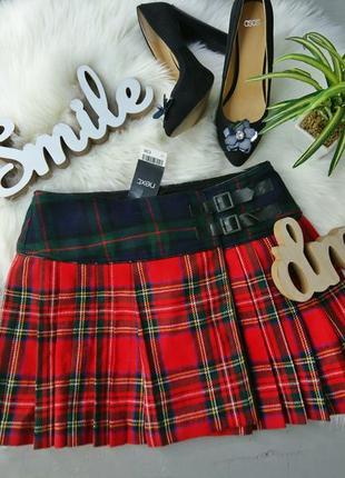 Актуальная юбка шотландка в клетку на запах 28% шерсть