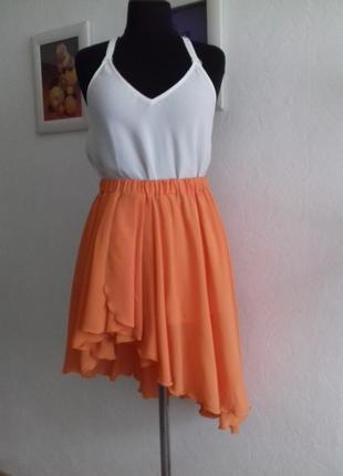 Очень красивая шифоновая ассиметричная юбочка актуальногоцвета апельсин