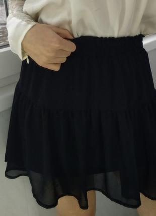 Черная юбка с воланомами