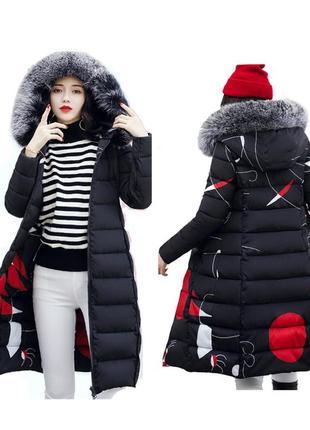 🔥минимальная цена!двустороннее стеганное пальто пуховик,принт, с капюшоном р.50