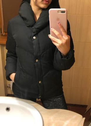 Курточка чёрная на синтепоне/куртка демисезонная /зефирка пуховик