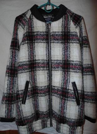 Куртка бомбер пальто шерстяное marks & spencer размер 12 или m без единого дефекта
