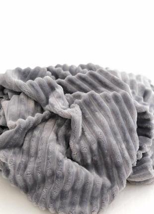 Велюровый плед шарпей в полоску, разные размеры и цвета