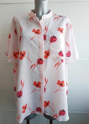 Нарядная блуза marks&spenser розового цвета с принтом красивых цветов