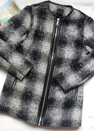 """Супер - стильное пальто в клетку с кожаной отделкой """"new look"""""""