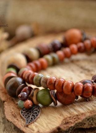 Комплект браслетов ′в красках осени′, браслет из натуральных камней, браслет ручной работы