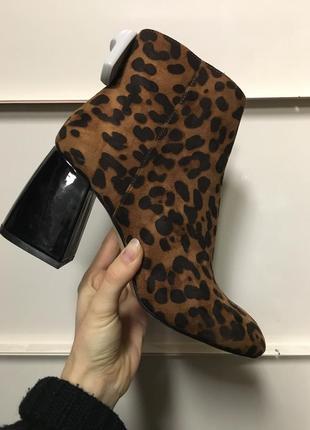 Ботинки ботильены леопардовые на каблуке